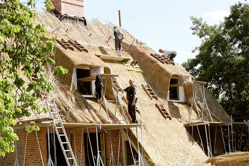 the tied thatched roof thatcher at work - Thatched Rood