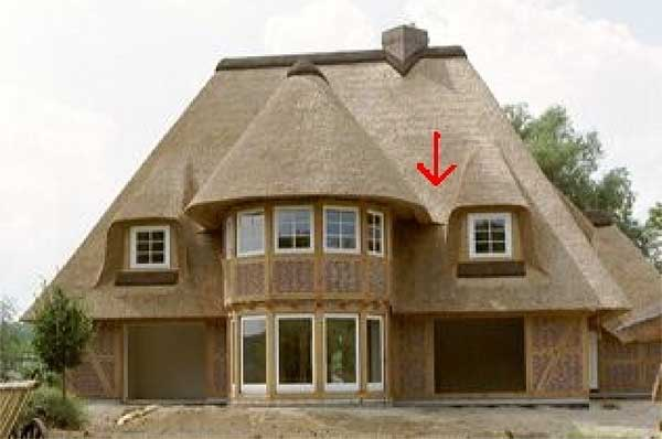 here the problem is that the run off rain water of the dormer and the - Thatch Roof Designs